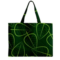 Vector Seamless Green Leaf Pattern Zipper Mini Tote Bag by Simbadda