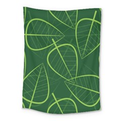 Vector Seamless Green Leaf Pattern Medium Tapestry by Simbadda