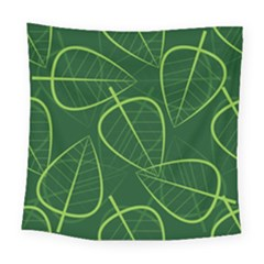 Vector Seamless Green Leaf Pattern Square Tapestry (large) by Simbadda