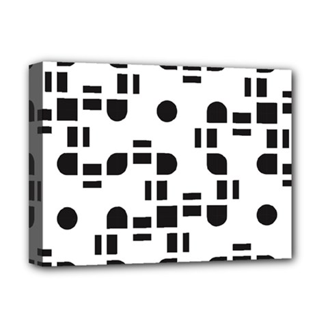 Black And White Pattern Deluxe Canvas 16  X 12   by Simbadda