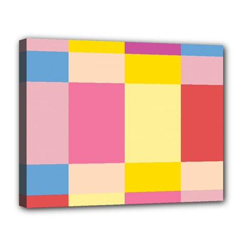 Colorful Squares Background Canvas 14  X 11  by Simbadda