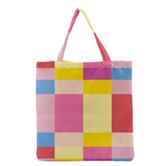 Colorful Squares Background Grocery Tote Bag by Simbadda