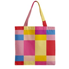 Colorful Squares Background Zipper Grocery Tote Bag