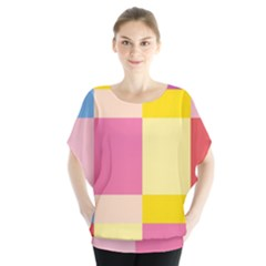 Colorful Squares Background Blouse by Simbadda
