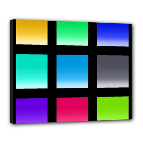 Colorful Background Squares Canvas 20  X 16  by Simbadda