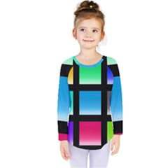 Colorful Background Squares Kids  Long Sleeve Tee by Simbadda