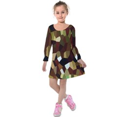 Crystallize Background Kids  Long Sleeve Velvet Dress