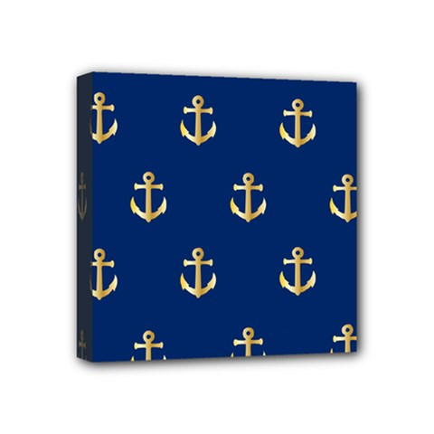 Gold Anchors On Blue Background Pattern Mini Canvas 4  X 4  by Simbadda