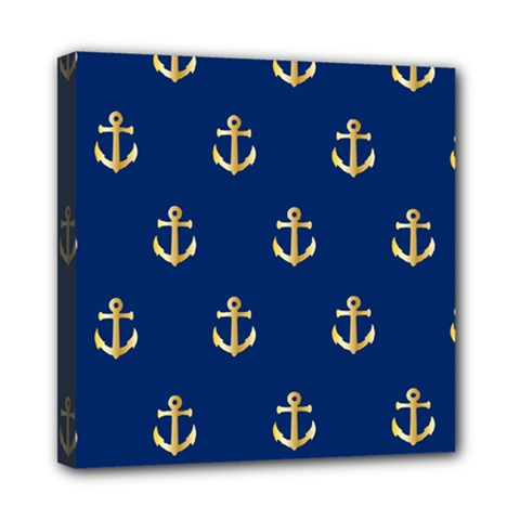 Gold Anchors On Blue Background Pattern Mini Canvas 8  X 8  by Simbadda