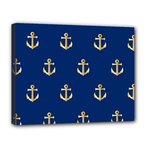 Gold Anchors On Blue Background Pattern Canvas 14  X 11  by Simbadda