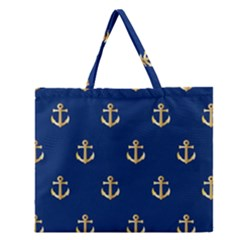 Gold Anchors On Blue Background Pattern Zipper Large Tote Bag by Simbadda