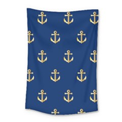 Gold Anchors On Blue Background Pattern Small Tapestry by Simbadda