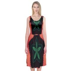 Fractal Flower Midi Sleeveless Dress