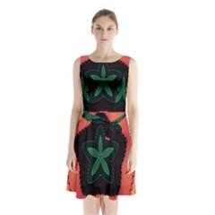 Fractal Flower Sleeveless Chiffon Waist Tie Dress