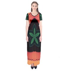 Fractal Flower Short Sleeve Maxi Dress