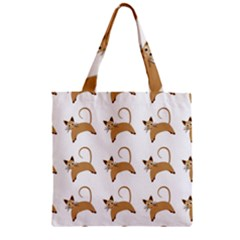 Cute Cats Seamless Wallpaper Background Pattern Zipper Grocery Tote Bag by Simbadda