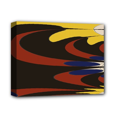 Peacock Abstract Fractal Deluxe Canvas 14  X 11  by Simbadda