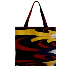 Peacock Abstract Fractal Zipper Grocery Tote Bag by Simbadda
