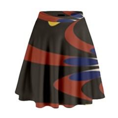 Peacock Abstract Fractal High Waist Skirt by Simbadda