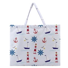 Seaside Nautical Themed Pattern Seamless Wallpaper Background Zipper Large Tote Bag by Simbadda
