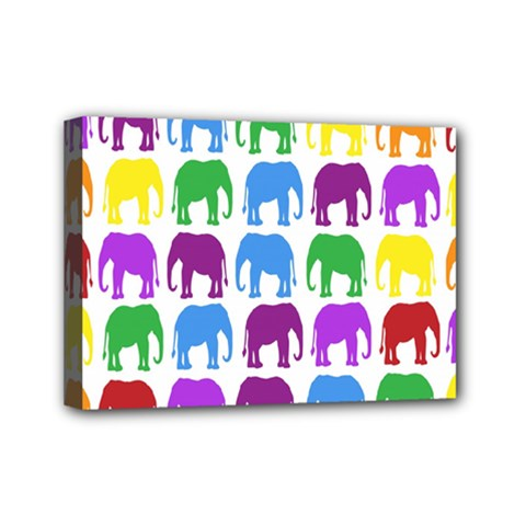 Rainbow Colors Bright Colorful Elephants Wallpaper Background Mini Canvas 7  X 5  by Simbadda