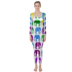 Rainbow Colors Bright Colorful Elephants Wallpaper Background Long Sleeve Catsuit by Simbadda