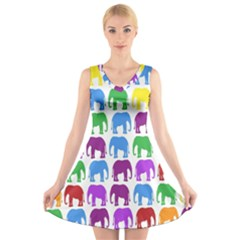 Rainbow Colors Bright Colorful Elephants Wallpaper Background V Neck Sleeveless Skater Dress by Simbadda
