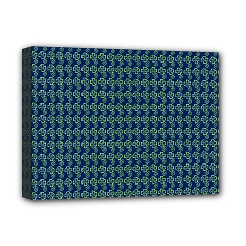 Clovers On Dark Blue Deluxe Canvas 16  X 12   by PhotoNOLA
