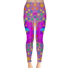 Colors And Wonderful Flowers On A Meadow Leggings  by pepitasart