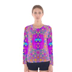 Colors And Wonderful Flowers On A Meadow Women s Long Sleeve Tee by pepitasart