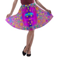 Colors And Wonderful Flowers On A Meadow A Line Skater Skirt by pepitasart