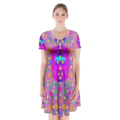 Colors And Wonderful Flowers On A Meadow Short Sleeve V Neck Flare Dress by pepitasart