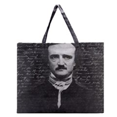 Edgar Allan Poe  Zipper Large Tote Bag by Valentinaart