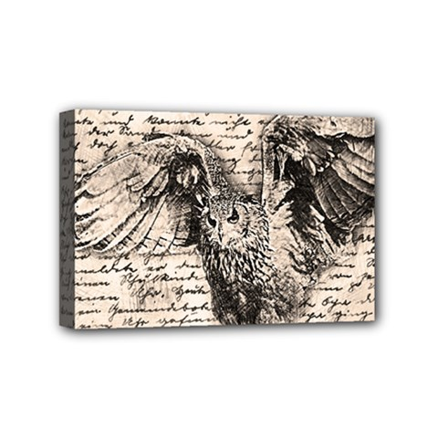 Vintage Owl Mini Canvas 6  X 4  by Valentinaart