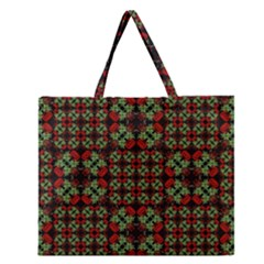 Asian Ornate Patchwork Pattern Zipper Large Tote Bag by dflcprints