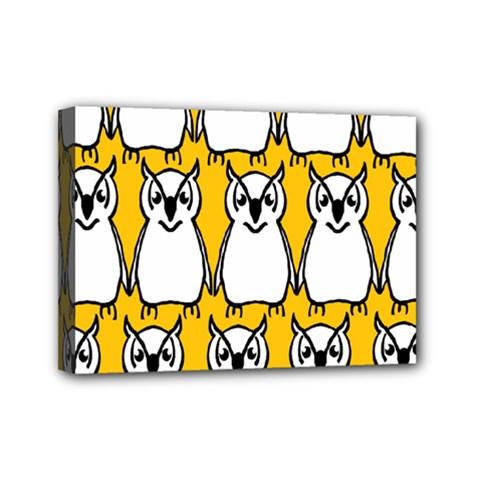 Yellow Owl Background Mini Canvas 7  X 5