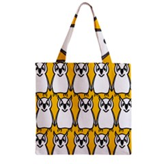 Yellow Owl Background Zipper Grocery Tote Bag by Simbadda