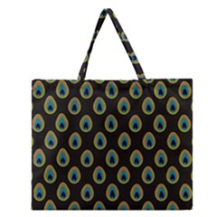 Peacock Inspired Background Zipper Large Tote Bag by Simbadda