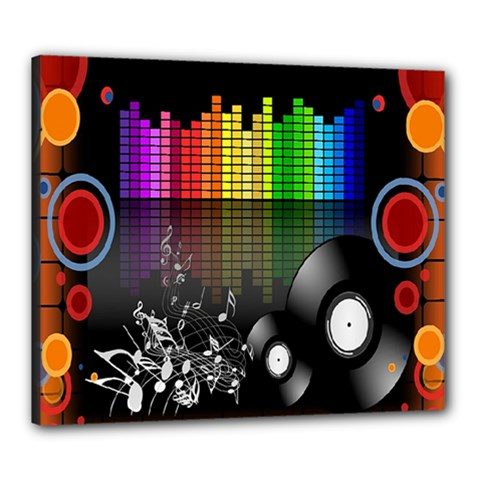 Music Pattern Canvas 24  X 20  by Simbadda