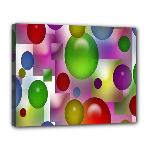 Colorful Bubbles Squares Background Canvas 14  X 11  by Simbadda