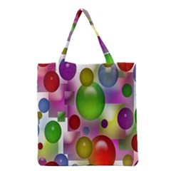 Colorful Bubbles Squares Background Grocery Tote Bag by Simbadda