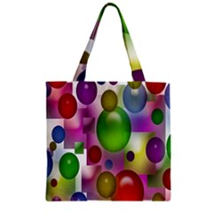Colorful Bubbles Squares Background Zipper Grocery Tote Bag by Simbadda