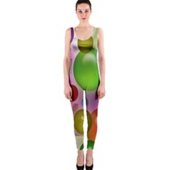 Colorful Bubbles Squares Background Onepiece Catsuit