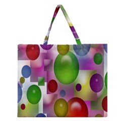 Colorful Bubbles Squares Background Zipper Large Tote Bag by Simbadda
