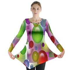 Colorful Bubbles Squares Background Long Sleeve Tunic  by Simbadda