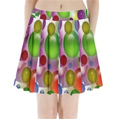Colorful Bubbles Squares Background Pleated Mini Skirt by Simbadda