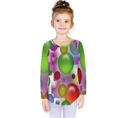 Colorful Bubbles Squares Background Kids  Long Sleeve Tee by Simbadda