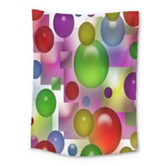 Colorful Bubbles Squares Background Medium Tapestry by Simbadda