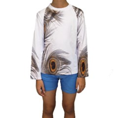 Peacock Feathery Background Kids  Long Sleeve Swimwear by Simbadda
