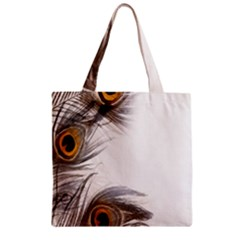 Peacock Feathery Background Zipper Grocery Tote Bag by Simbadda